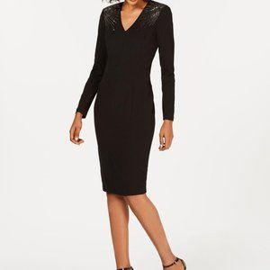 Calvin Klein Embellished Long-Sleeve Sheath Dress